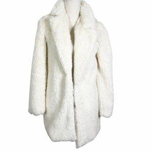 Forever 21 White Small Faux Fur Teddy Coat Off-whi